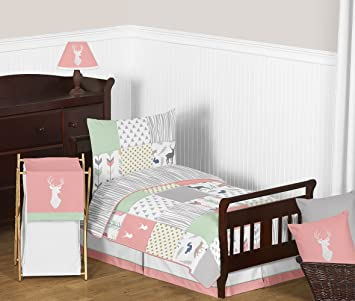 Sweet Jojo Designs 5 Piece Coral, Mint And Grey Woodsy Deer Girls Toddler  Bedding