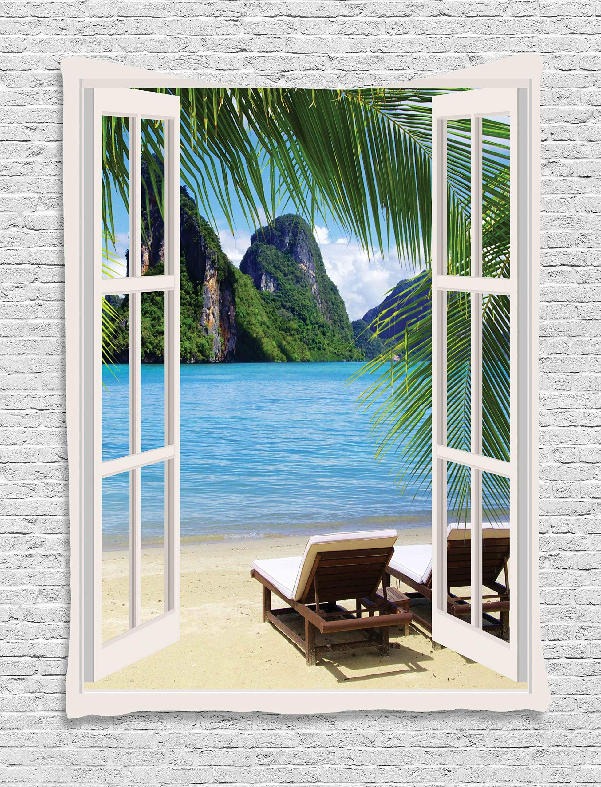 Ambesonne Beach Tapestry Decor, Palm Trees in Ocean Heaven Sunbeds Balcony White Wooden Windows Summer Tropical, Wall Hanging for Bedroom Living Room Dorm, 60 W x 80 L Inches, Blue Green White