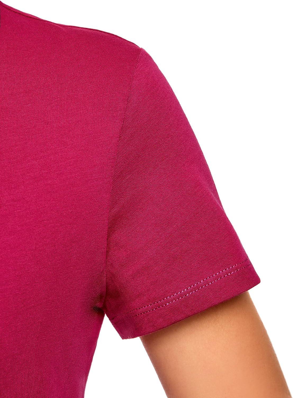 oodji Ultra Donna T-Shirt in Cotone con Scollo Rotondo