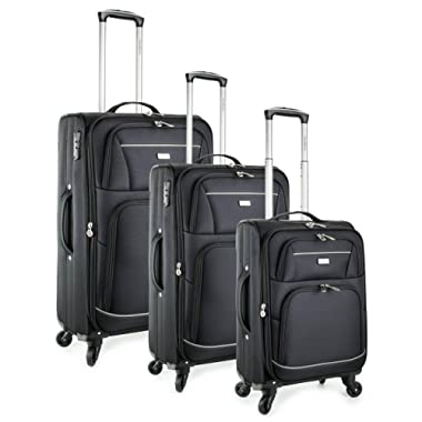 TravelCross Springfield Premium Luggage 3 Piece Expandable Lightweight Spinner Set