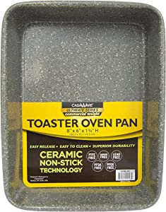 casaWare 8 x 6 x 1.75-Inch Toaster Oven Ultimate Series Commercial Weight Ceramic Non-Stick Coating Pan (Silver Granite)