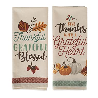 DII Cotton Thanksgiving Holiday Dish, Decorative Oversized Embroidered Kitchen Towels, Set of 2, Grateful Fall, 2 Pack