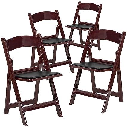 Flash Furniture 4 Pk. HERCULES Series 1000 Lb. Capacity Red Mahogany Resin  Folding Chair