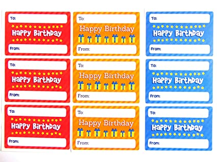 amazon com happy birthday gift and present tags colorful birthday