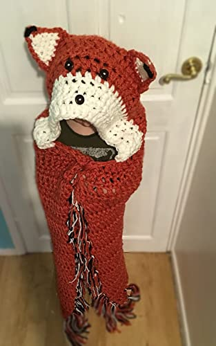 Hooded Foxwolf Blanket Hand Crochet From Mjs Off The Hook