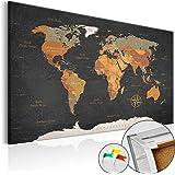 murando® Nouveaute! Tableau liege avec un vrai châssis bois 120x80 cm – Tableau en liege carte du monde poster k-C-0048-p-c 120x80 cm