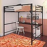 DHP Miles Metal Full Loft Bed with Desk, Black