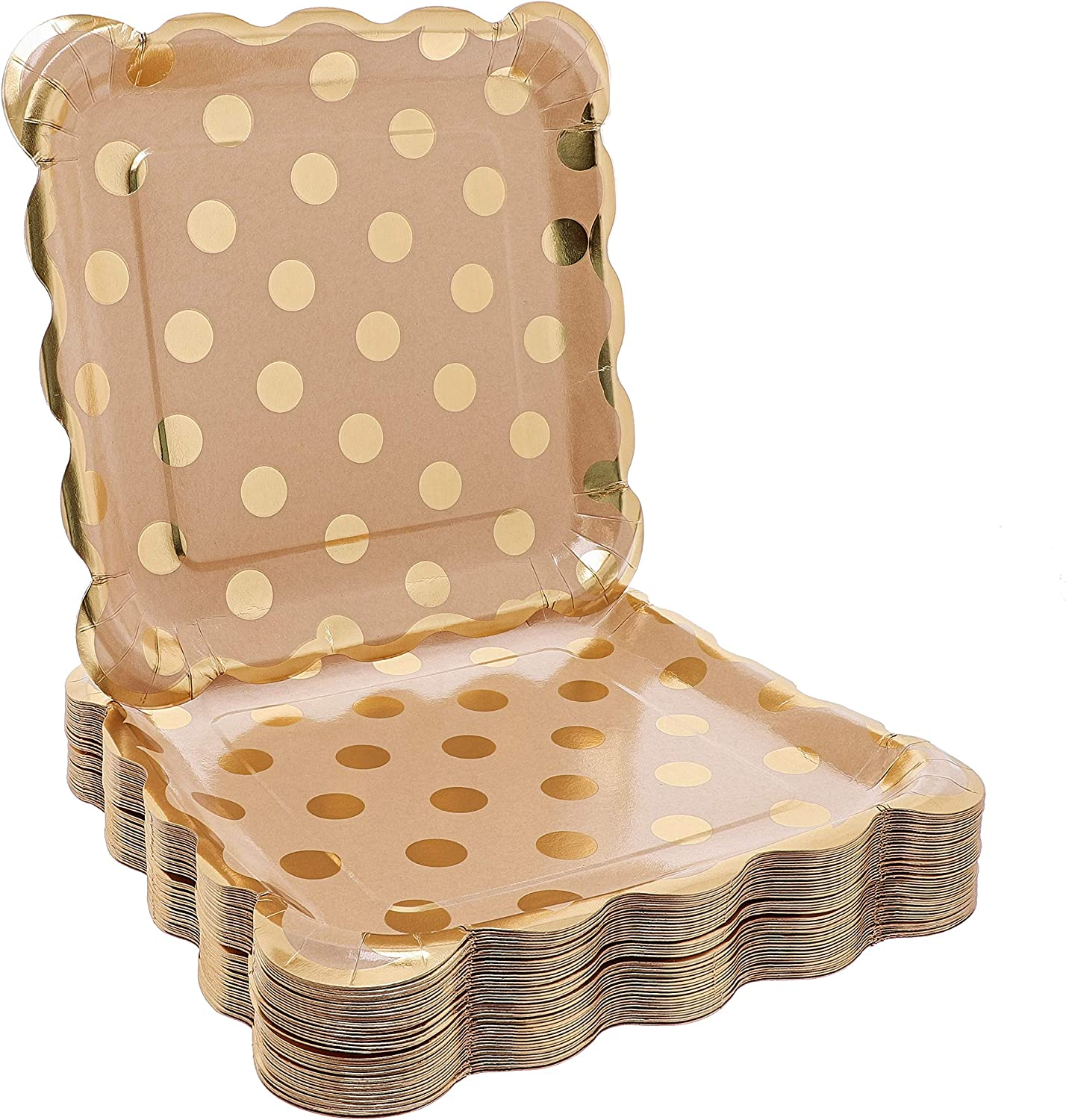 Juvale 48-Pack Kraft Gold Foil Dots 9 Inch Paper Party Plates for Lunch Dessert or Appetizer