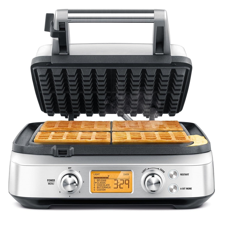 Silver BREBWM640XL Breville BWM640XL Smart 4-Slice Waffle Maker