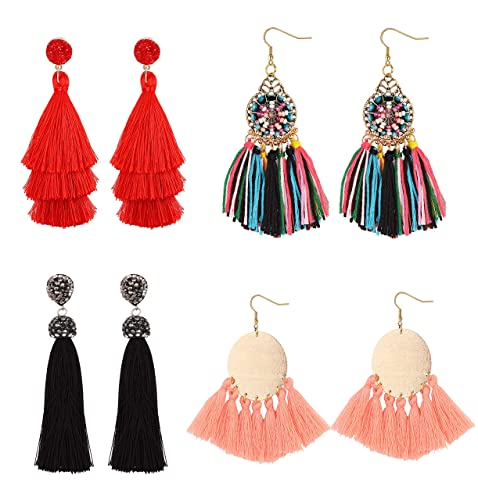 2aa3e882b Hanpabum 4 Pairs Tassel Earrings for Women Girls Party Bohemia Dress  Accessory Colorful Layered Long Tassel