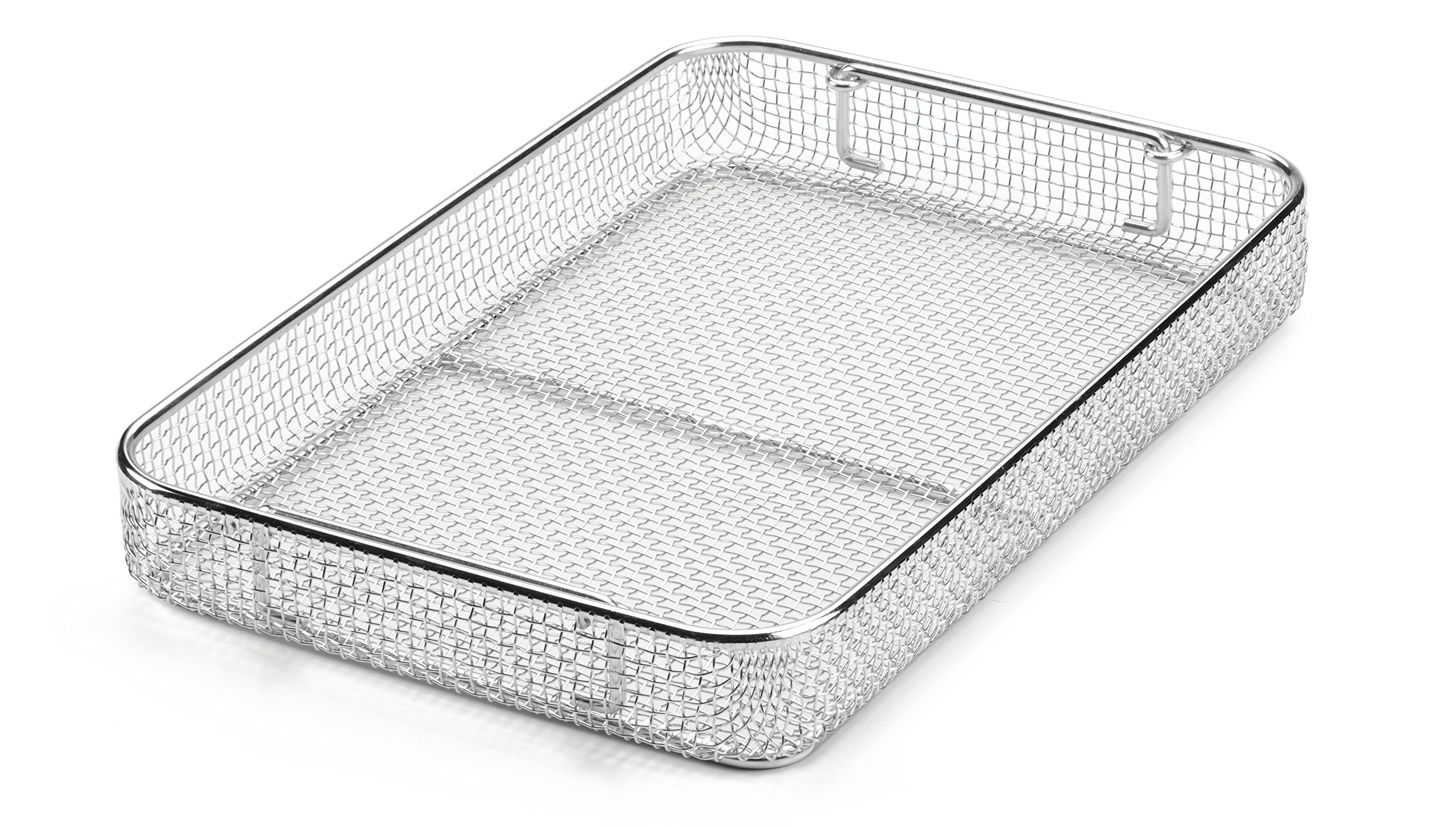 Key Surgical MT-8050 Mesh Tray with Drop Handles, Stainless Steel, 380 mm x 250 mm x 50 mm
