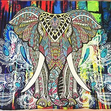 green living-6 Elefante Bordado Colorido Tapiz Bohemio impresión Home Toalla de Playa (Playa sesión Manta Colcha Picnic Mantel Decorativo para Colgar en la ...