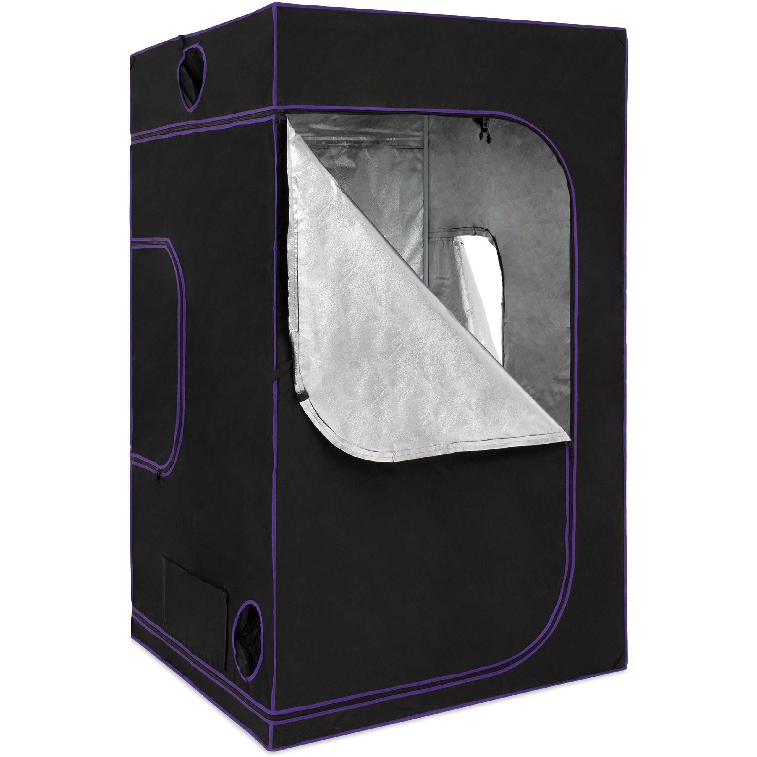 Best Choice Products 48x48xX80in Heavy Duty Indoor Hydroponic Grow Tent w/Observation Window -Black