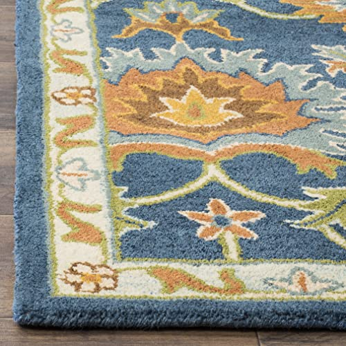 Safavieh Heritage Collection HG654A Handcrafted Traditional Navy Premium Wool Area Rug 5 x 8