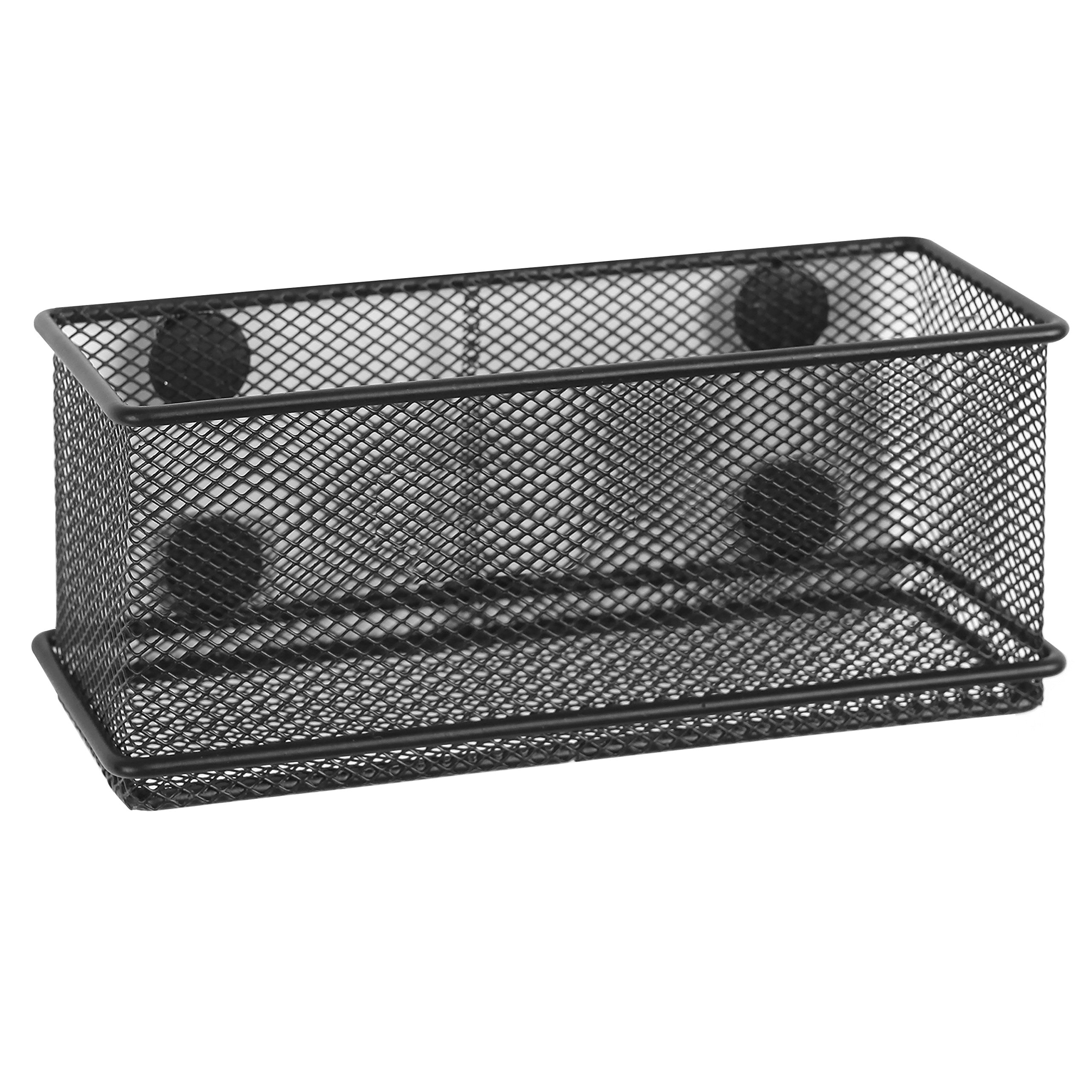 MyGift Modern Wire Mesh Magnetic Basket Storage Tray, Office Whiteboard Supply Organizer, Black