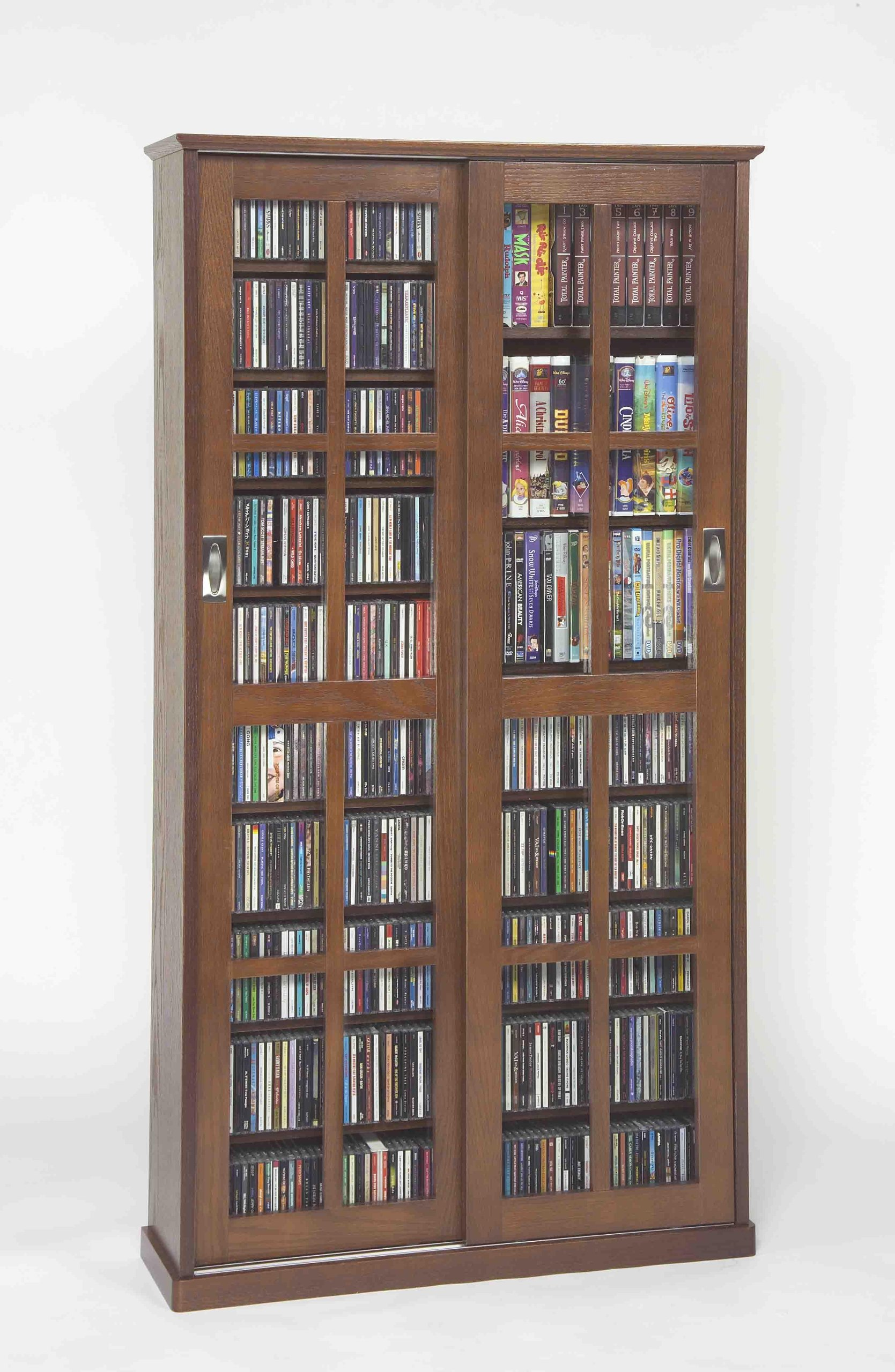 Leslie Dame Mission Multimedia DVD/CD Storage Cabinet with Sliding Glass Doors, Walnut by Leslie Dame