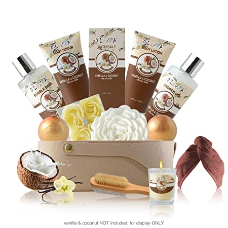 Relaxing Skin Care and Bath Gift Basket Set for Women with Vanilla and Coconut Fragrance – Mothers Day Birthday Holiday Gift Ideas for Her – 16 Pack at Home Spa Kit with Bath Bombs, Hair Drying Towels