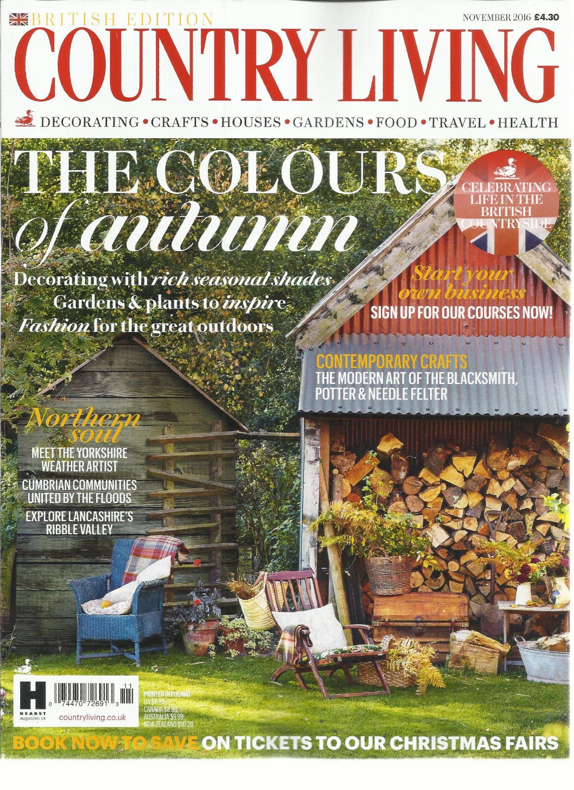 COUNTRY LIVING MAGAZINE, NOVEMBER, 2016 BRITISH EDITION THE COLOURS OF AUTUMN