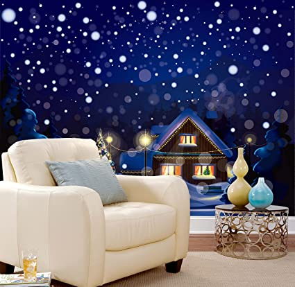 3D Christmas Winter House Landscape 5 Wall Paper Wall Print Decal