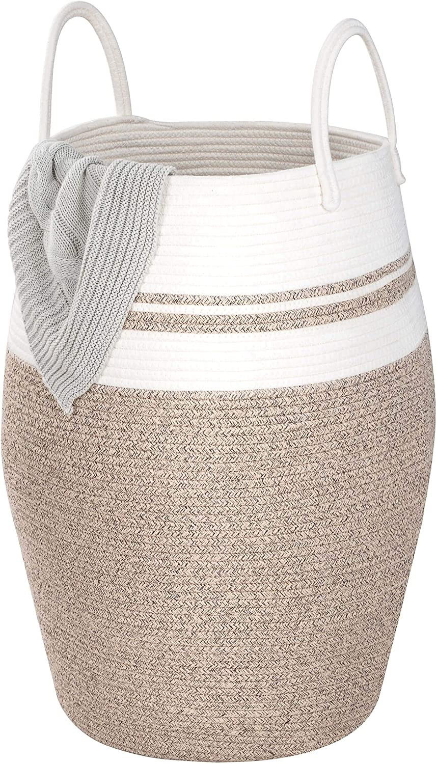 MINTWOOD Design Extra Large 25.6 Inches High Decorative Woven Cotton Rope Basket, Tall Laundry Hamper with Handles, Blanket Basket Living Room, Storage Baskets for Toys, Throws, Pillows, Towels