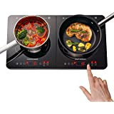 Gastrorag 1800W Portable Double Induction Ceramic Cooktop – Lightweight, Sensor Touch, 10 Temperature Power Settings, 180 Min