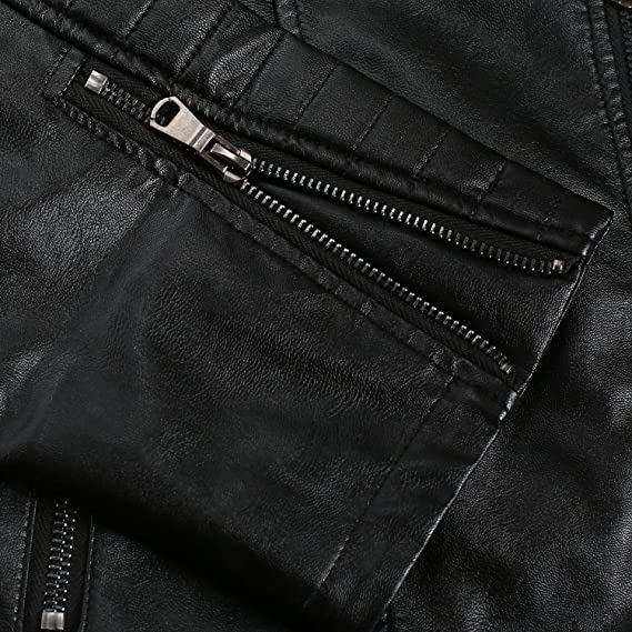 Coofandy Blouson Cuir Homme Moto Motard Hiver Casual Noir Taille S-XXL   Amazon.fr  Vêtements et accessoires bf6bef66c94