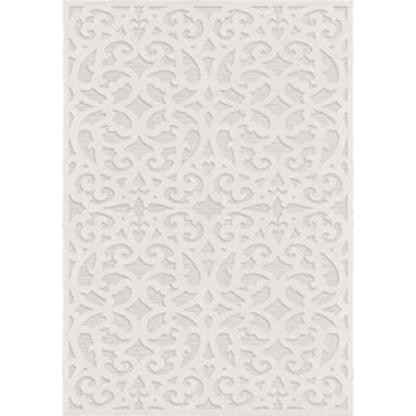 Orian Rugs BCL/SEAB/40NT/276X398 Sculpted 4704 Indoor/Outdoor High-Low Debonair Natural Area Rug, 9' x 13', Ivory