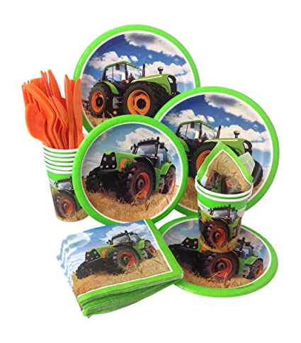 Farm Tractor Birthday Party Supply Pack! Bundle Includes Paper Plates Napkins Cups u0026  sc 1 st  Amazon.com & Amazon.com: Farm Tractor Birthday Party Supply Pack! Bundle Includes ...