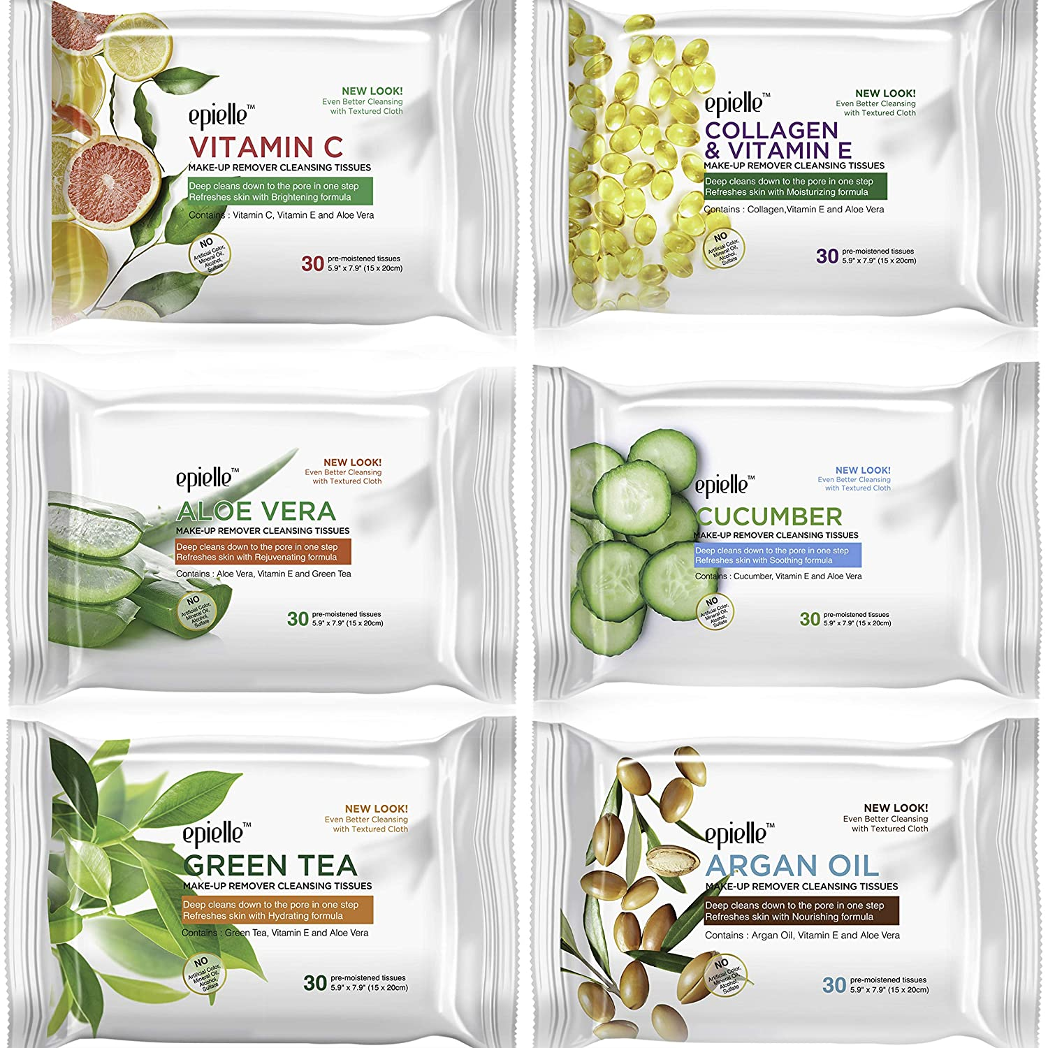 New 30ct Tissues (Assorted-6pk) 1-Vitamin C, 1-Collagen & Vitamin E, 1-Aloe Vera, 1-Cucumber, 1-Green Tea, 1-Argan Oil
