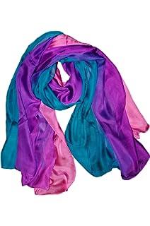 Posh Gear Femme Écharpe Foulard en mousseline de soie Tri-Color 100% soie 6dc24db49e8