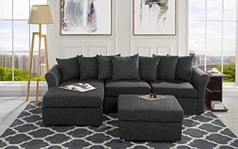Astounding Upholstered Sectional Sofa With Ottoman L Shape Couch With Chaise 96 W Inches Ash Grey Caraccident5 Cool Chair Designs And Ideas Caraccident5Info