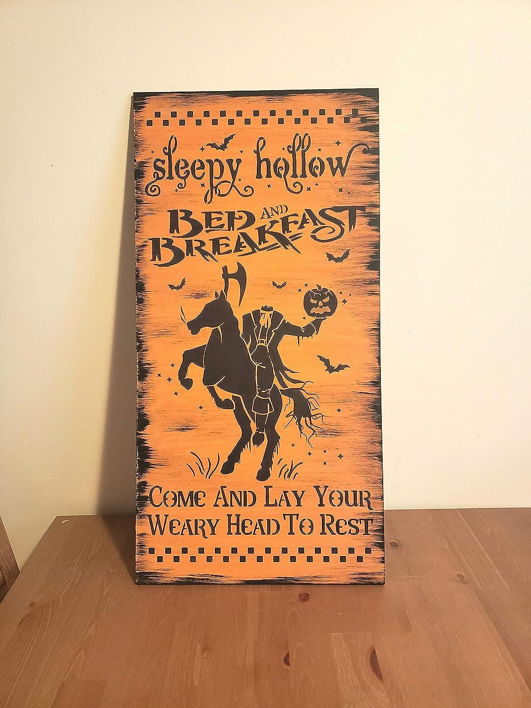 Tamengi Sleepy Hollow Bed and Breakfast Sign Wood Halloween Sign Wooden Home Decor Gothic Decor Headless Horseman Orange Black Gift Primitive 8
