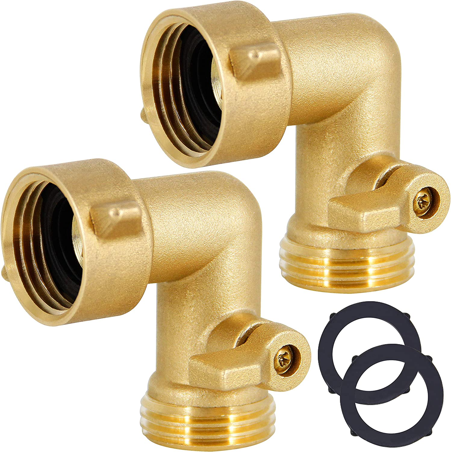 Lifynste Garden Hose Elbow Connector, 90 Degree Brass Garden Hose Elbow Adapter with Shut Off Valves