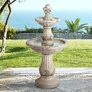 "John Timberland Reneta 51"" High Faux Stone Three-Tier Outdoor Floor Fountain"