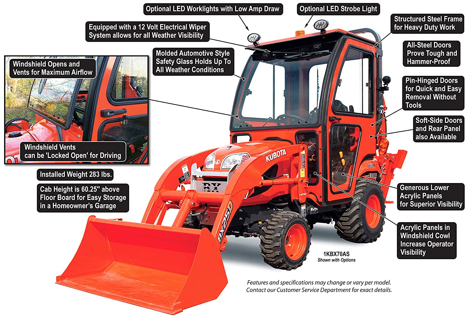 Amazon com : Curtis Soft Side Deluxe Cab for Kubota BX70 and
