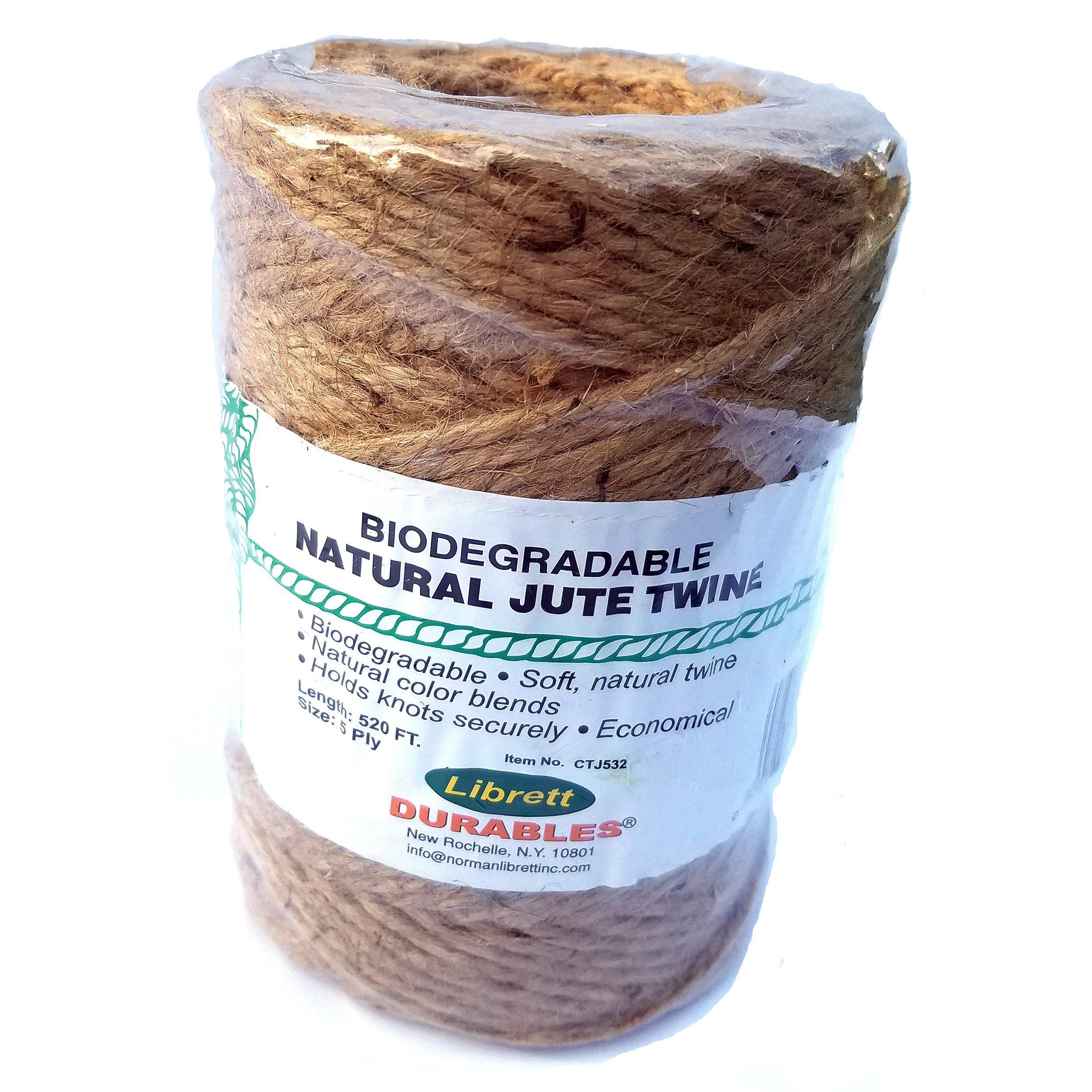 Natural Jute Twine. 5 Ply X 520ft by Librett