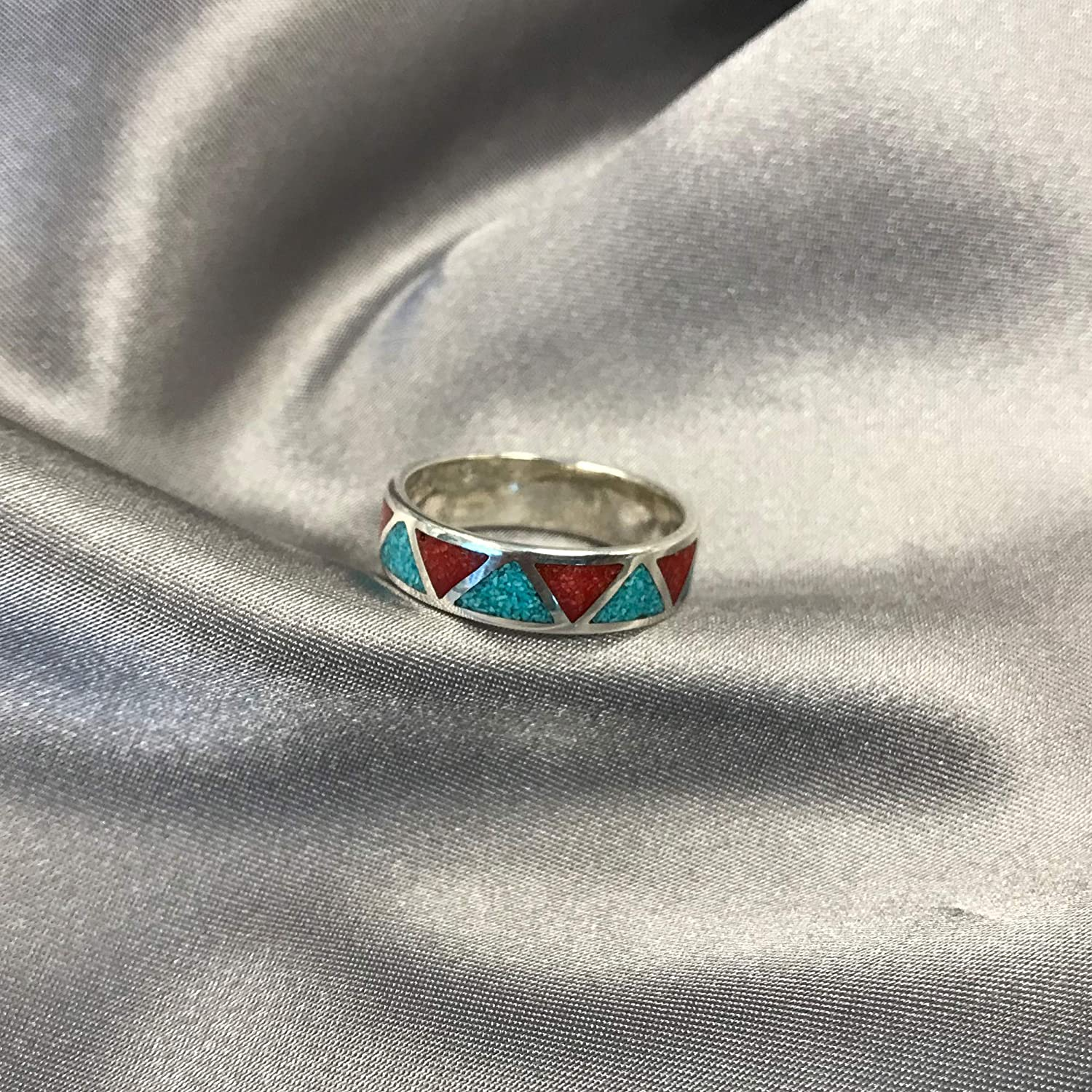Sterling Silver Oval Turquoise Coral Gemstone Southwestern 4mm Band Size 5-11