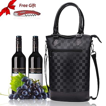 Kato Bolsa de Vino con Aislamiento Bolsa de Viaje Acolchada para 2 Botellas de Vino/champán con asa y Correa de Hombro + sacacorchos Gratis, Gran ...