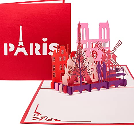 Carte pop-up « Paris je taime » - Carte à rabat 3D - Paris et la ...