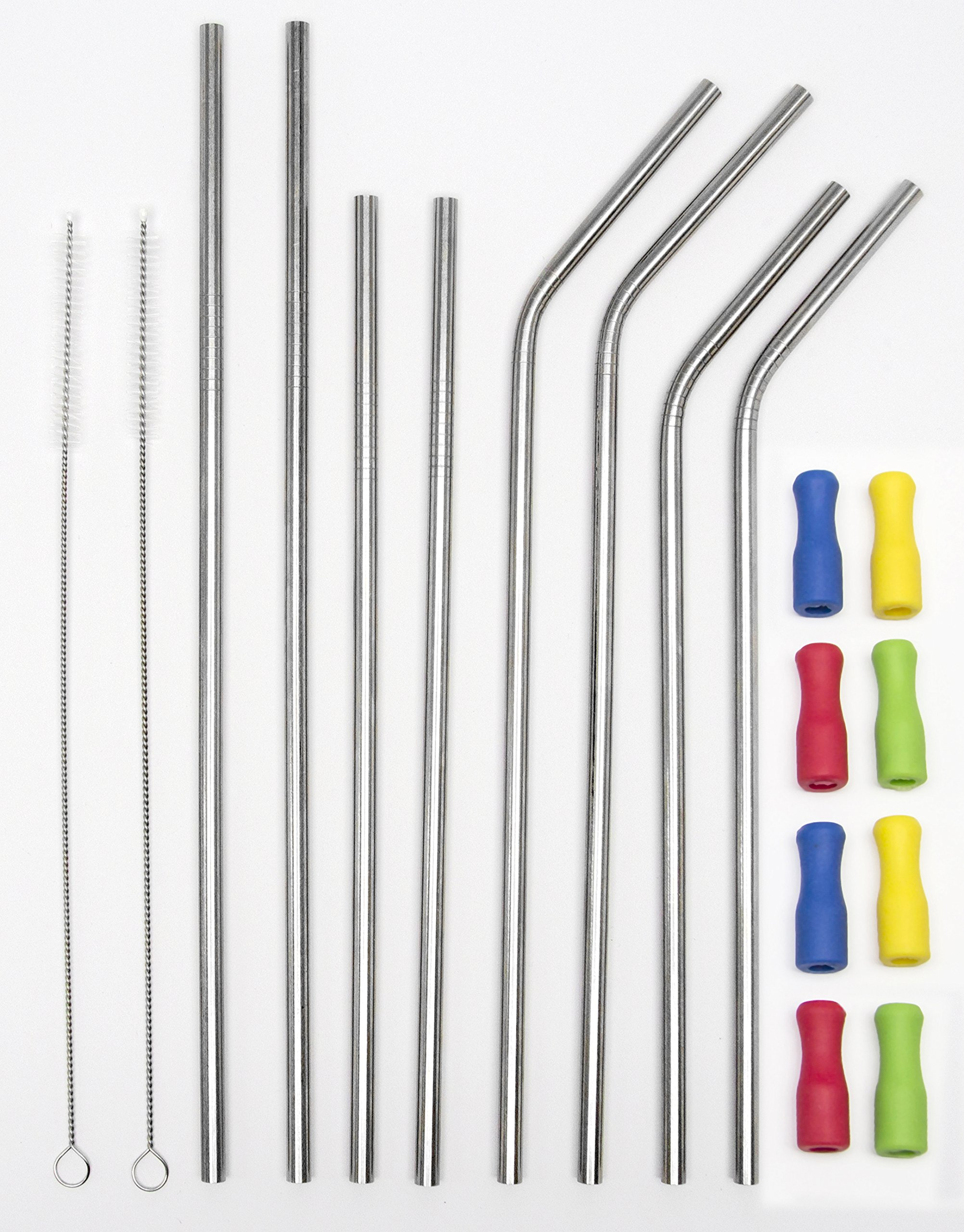 18 Piece Stainless Steel Tumbler Straw and Silicone Tips Set: 4 - Ultra Long 10.5'' and 4 - 9'' Drinking Metal Straws For 20, 30 oz Tumblers (4 Straight + 4 Bent + 2 Brushes + 8 silicone tips)