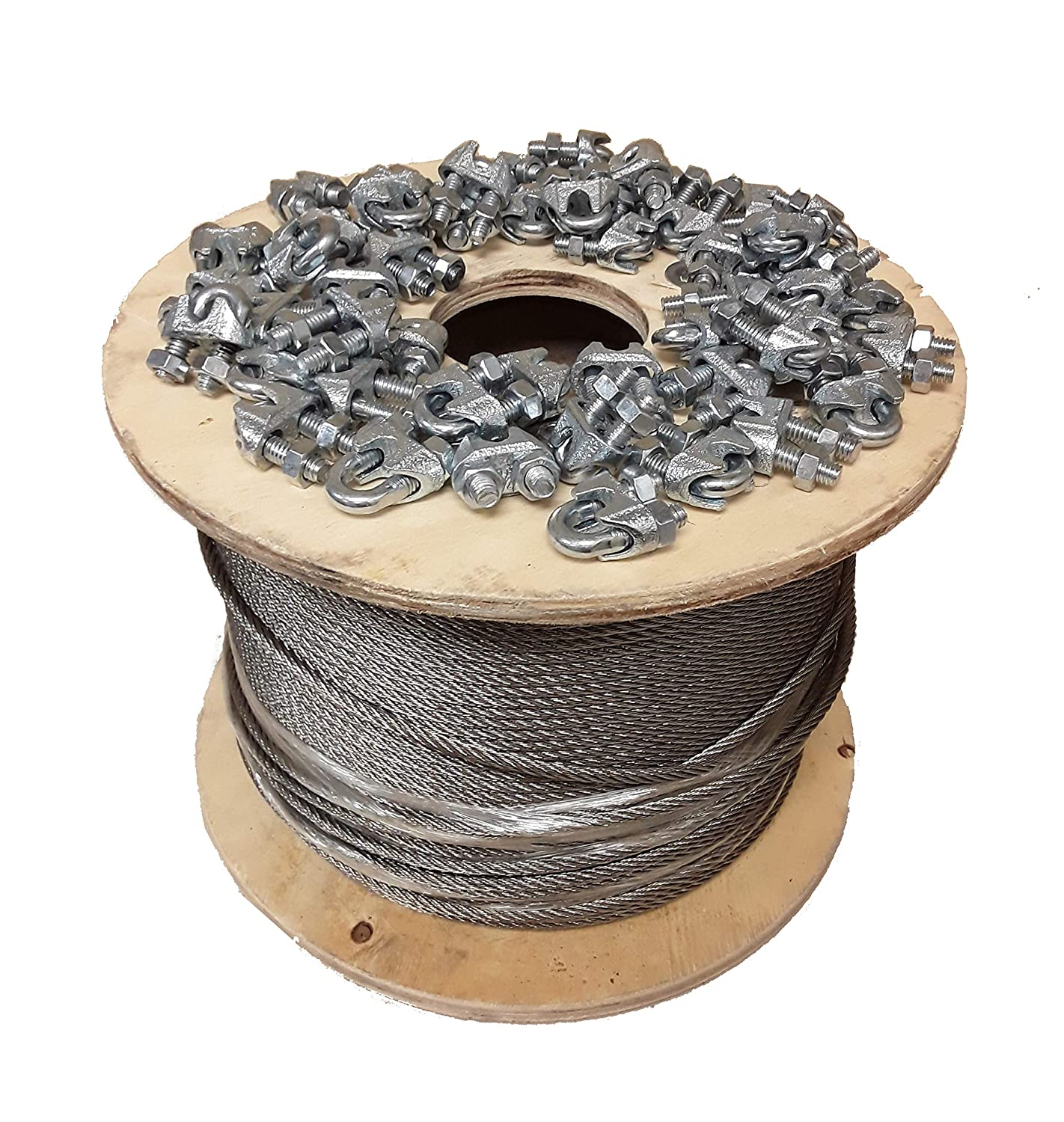 50 PCS 1//8 Cable Clamps 7 x 19 Galvanized Aircraft Cable Wire Rope 1//8 1000 ft with Cable Clamps Clips