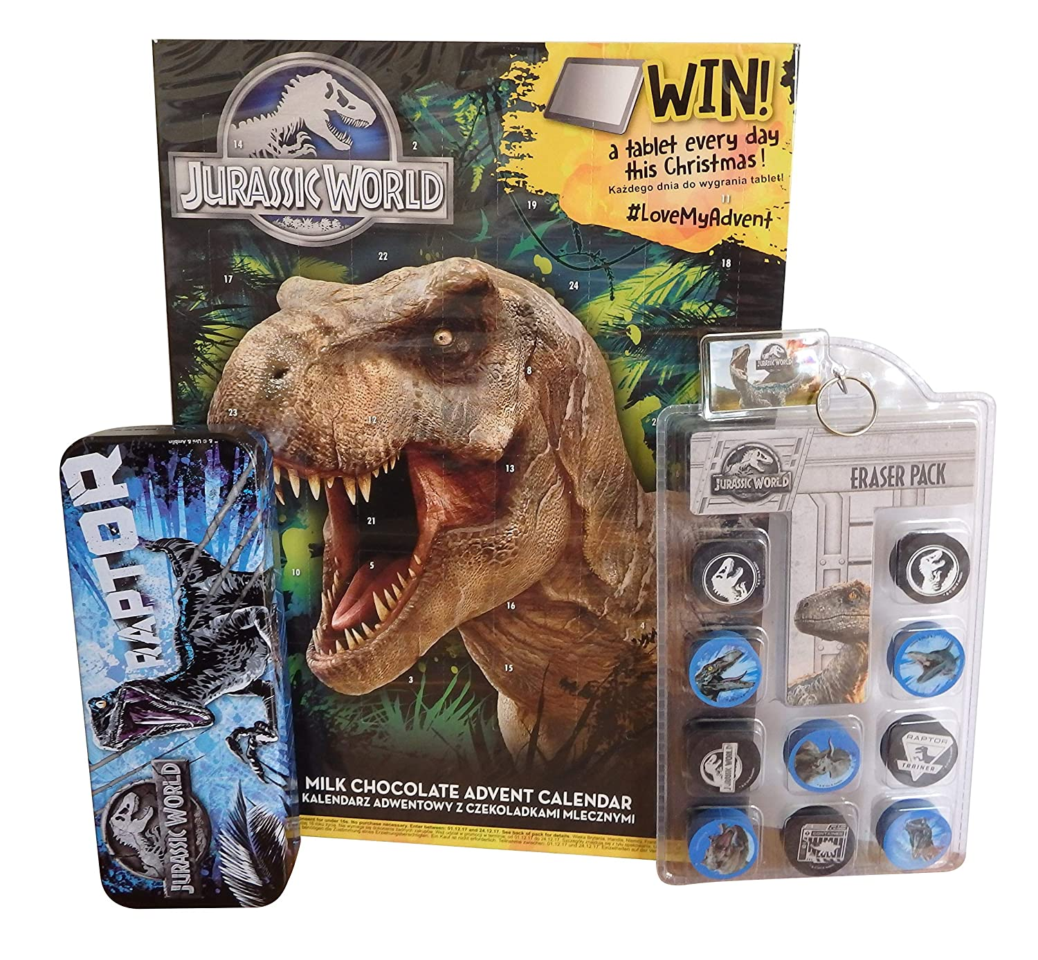 Jurassic World Chocolate Advent Calendar Set 2018 - Pencil Case, Eraser Pack, Keyring , Christmas Stocking Filler Set for Boys And Girls. Official items bundle. BonBon Buddies