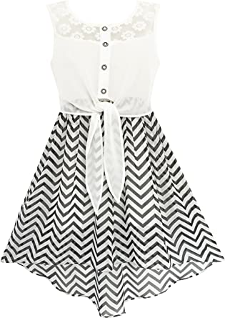 Daughter Black White Striped Dress Swing Warm Casual Family Clothes Girls Dress