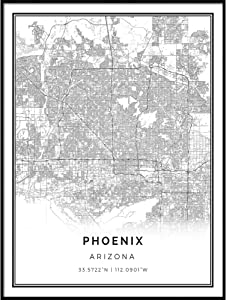 Squareious Phoenix map Poster Print | Modern Black and White Wall Art | Scandinavian Home Decor | Arizona City Prints Artwork | Fine Art Posters 9x11