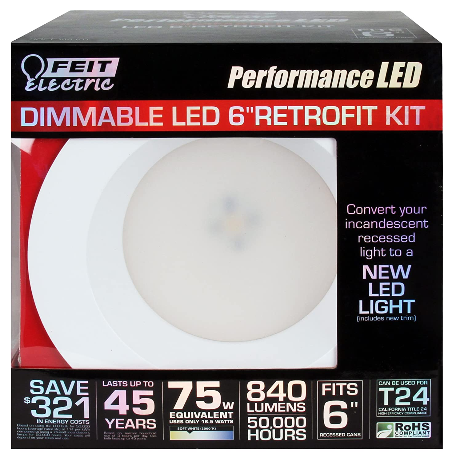 Feit Electric LEDR6/3K LED Dimmable Retrofit Kit - Led Household Light Bulbs - Amazon.com  sc 1 st  Amazon.com & Feit Electric LEDR6/3K LED Dimmable Retrofit Kit - Led Household ... azcodes.com