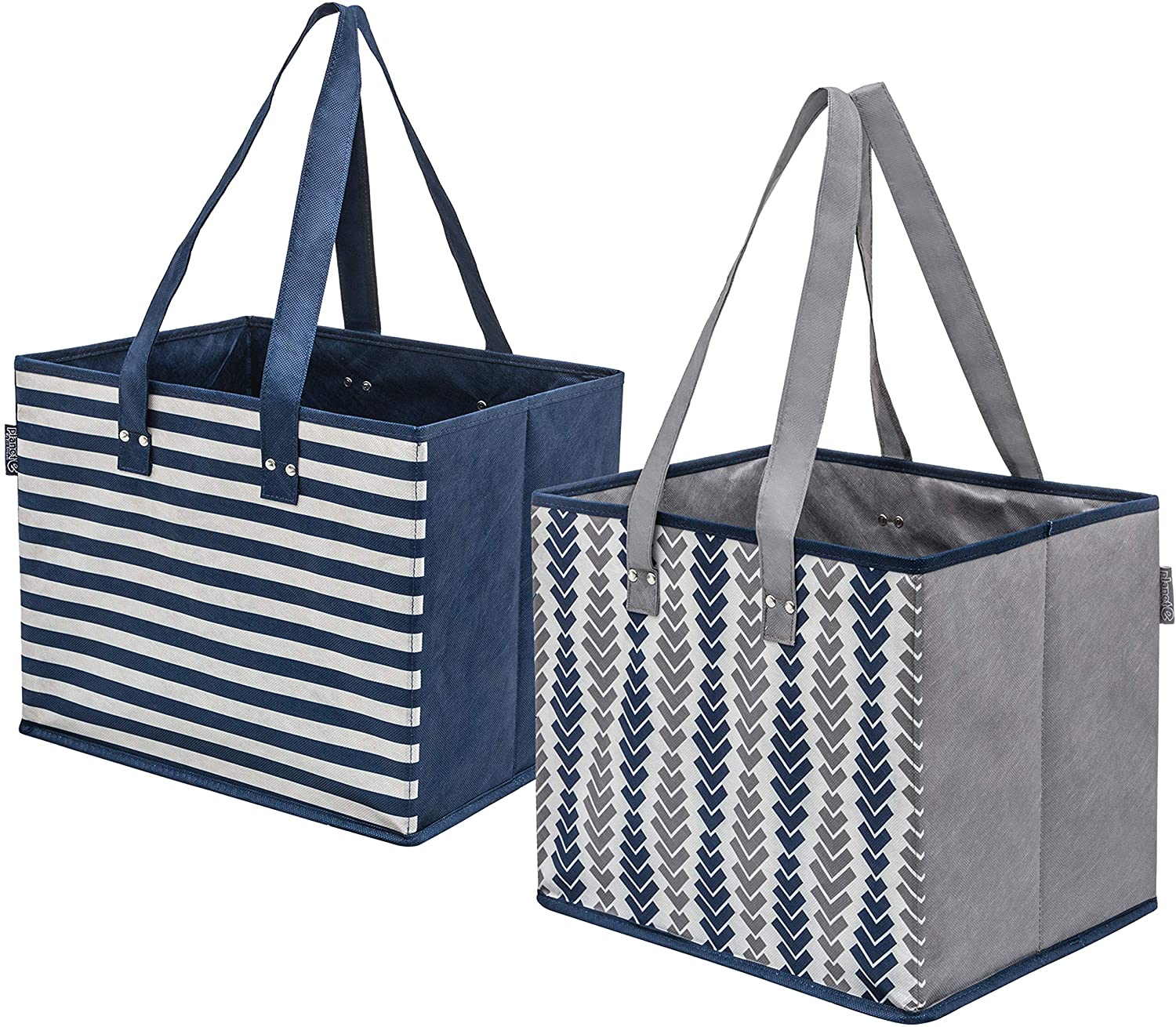 Planet E Reusable Grocery Shopping Bags - Large Collapsible Boxes With Reinforced Bottoms Made of Recycled Plastic (Pack of 2)