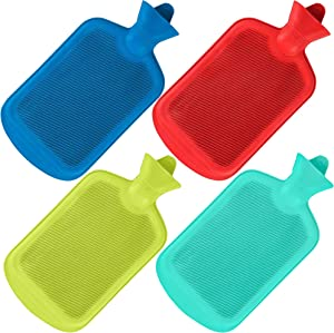 SteadMax Hot Water Bottle, Natural Rubber -BPA Free- Durable Hot Water Bag for Hot Compress and Heat Therapy, Random Colors (1 Pack)