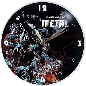 "Leooolukkin Dark Nights Metal Vinyl Clock 12"", Wall Clock Painted Dark Nights Metal, Original Gifts for Comic Book Lovers, The Best Gift for Kids and Teenagers, Unique Wall Art Home Decor"
