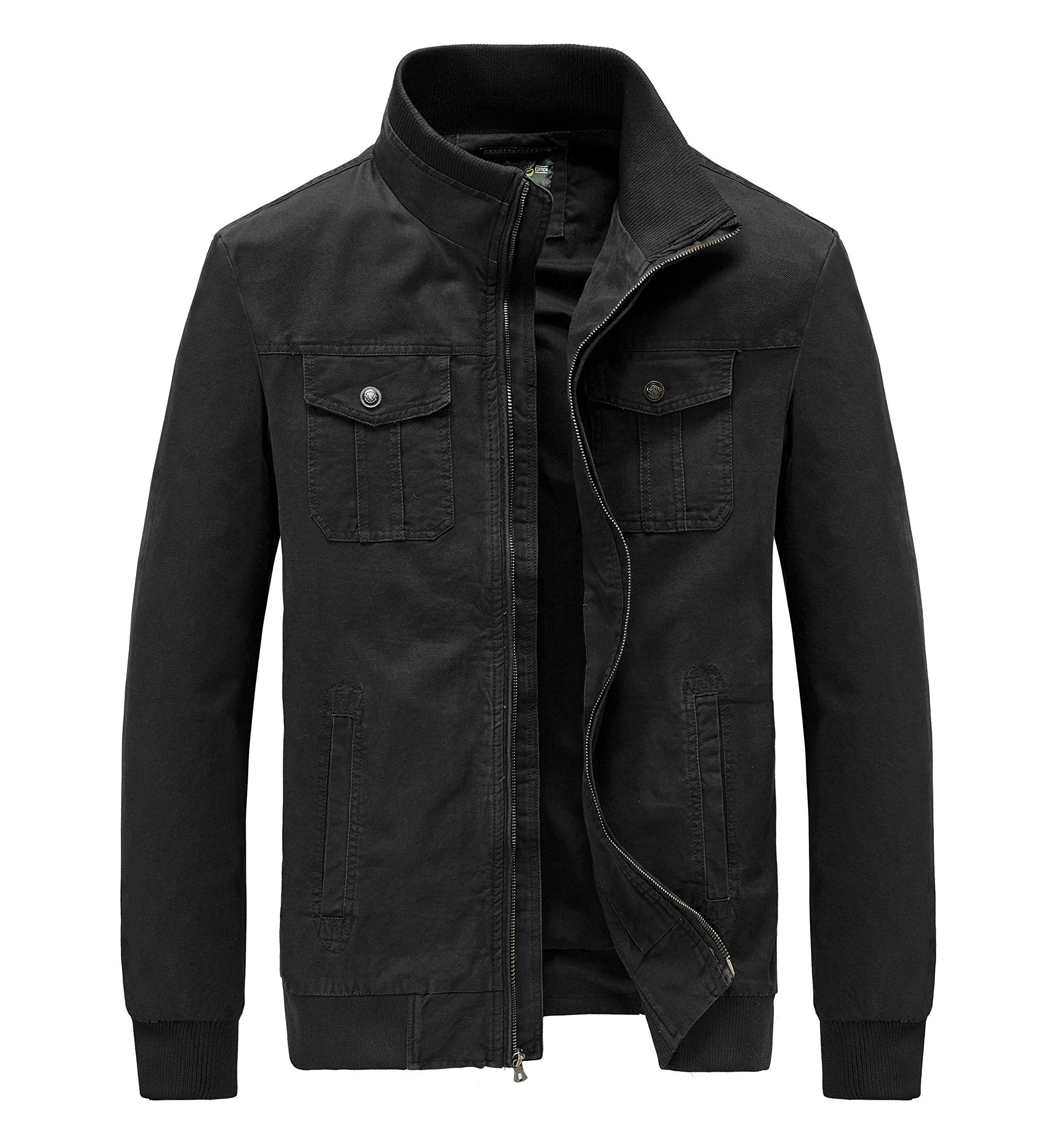 JYG Men's Casual Military Windbreaker Jacket Cotton Stand Collar Field Coat with Shoulder Straps (Medium, Black-8817) by JYG