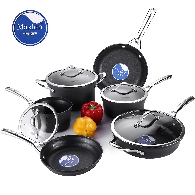 Cooksmark 10 Piezas Batería de Cocina Negra Juego de Ollas y Sartenes Antiadherentes de Aluminio Anodizado Juego de Cacerolas con Tapas de Vidrio Apta para ...